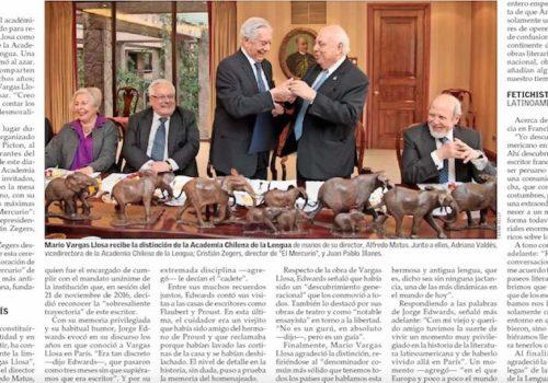 Dos Socios De La SBCH En Ceremonia Con Mario Vargas Llosa