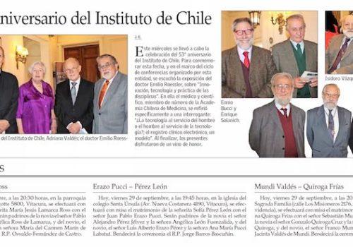 Presidente De La SBCH En Aniversario Del Instituto De Chile