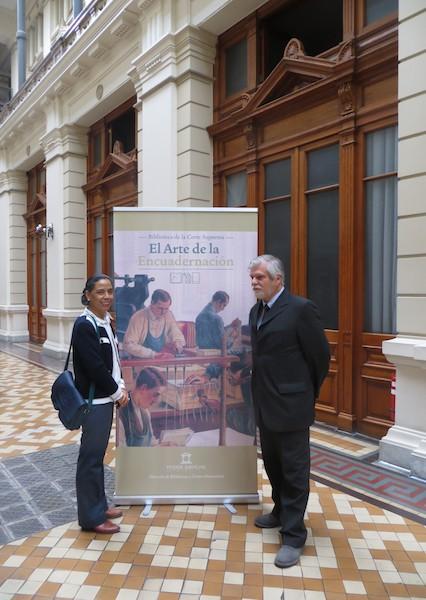 <h5>Norma Alcamán Riffo y Juan Guillermo Prado, socios de la SBCH invitados a la ceremonia en la Corte Suprema.</h5>