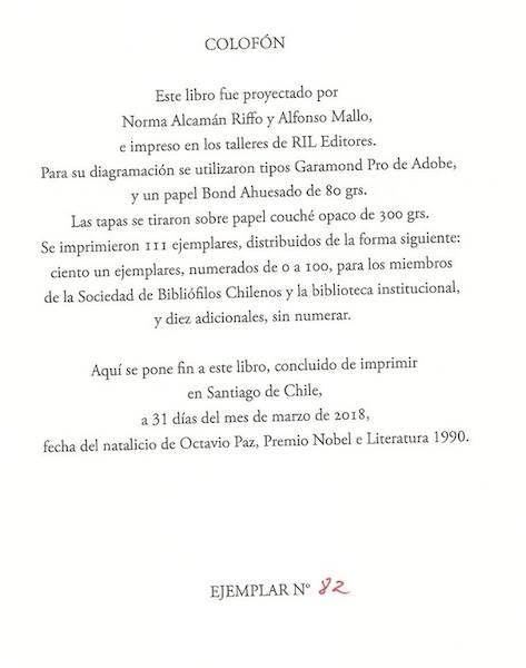 Última página del libro, destinado a rescatar nuestro patrimonio cultuiral en el ámbito de la gastronomía chilena.