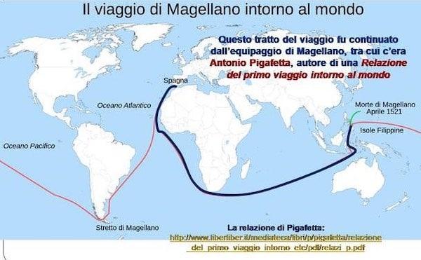 Trayecto del primer viaje alrededor del mundo, cuyo cronista fue Antonio Pigafetta.