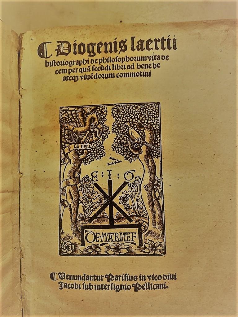 Diogenes Laertii, editado por Guyot Marchant, París, año 1500.