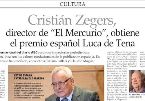 Cristián Zegers Obtiene Premio Internacional