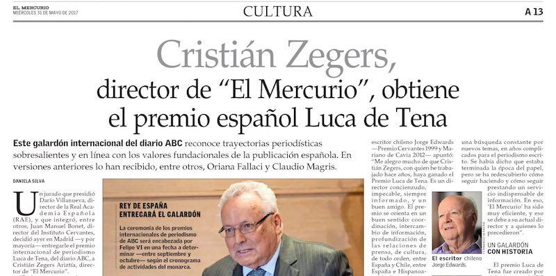 Cristian Zegers, premio 1