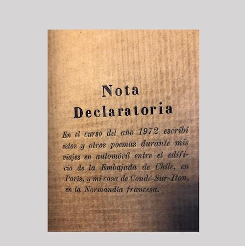 Nota Declaratoria Dos Poemas