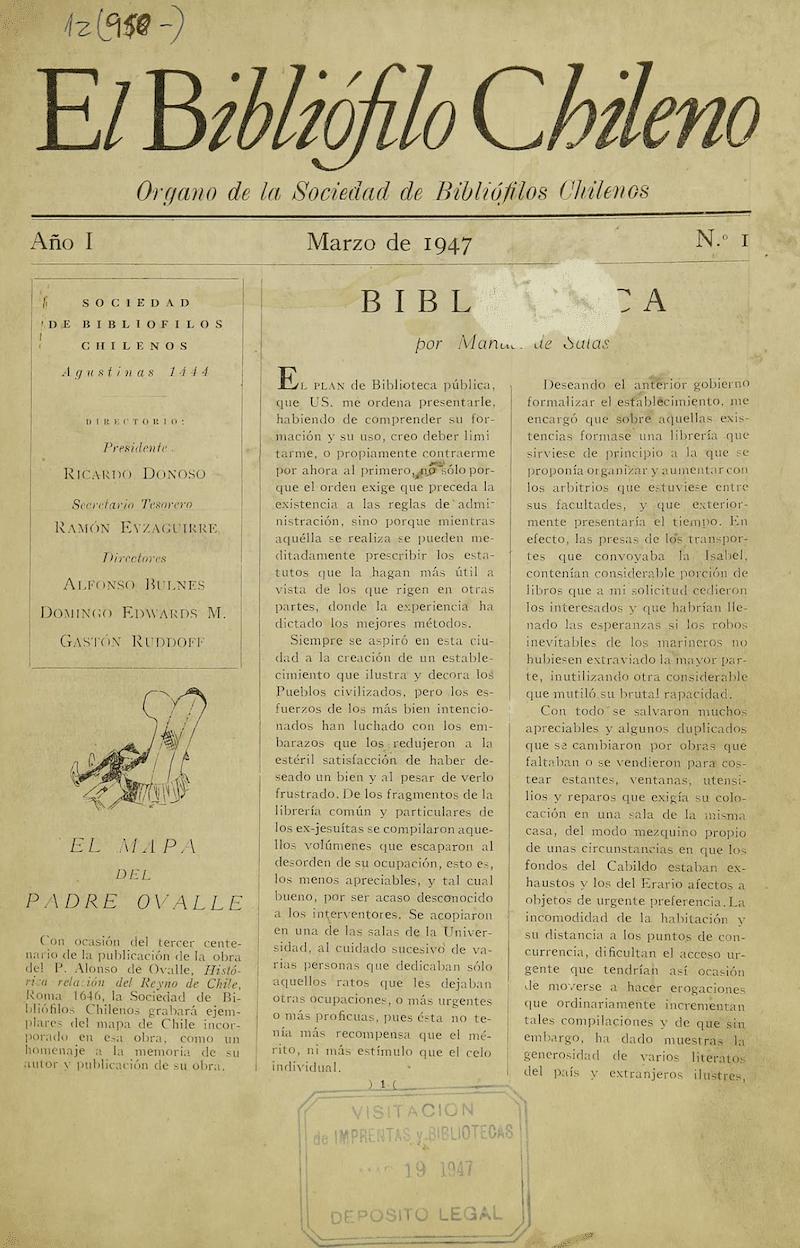 EL BIBLIÓFILO CHILENO N°1 (MARZO DE 1947).