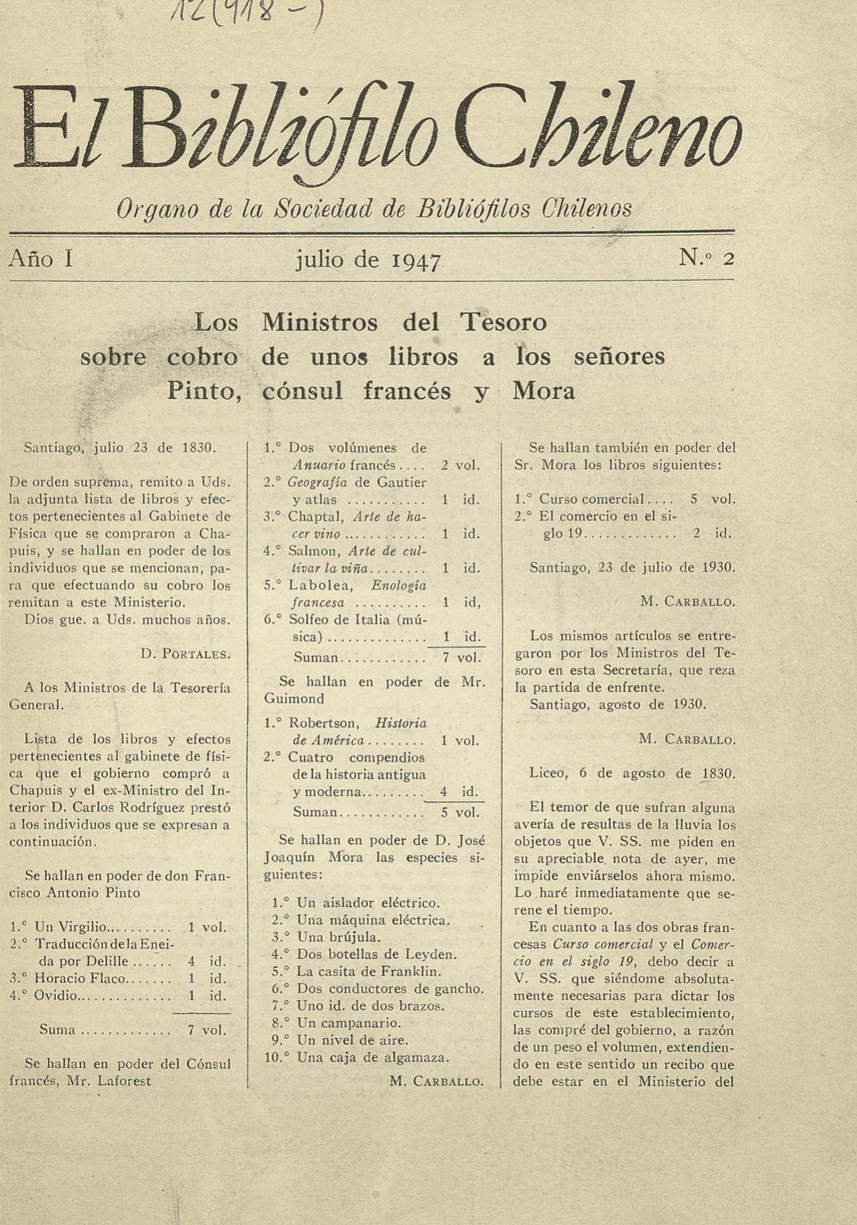 EL BIBLIÓFILO CHILENO N°2 (JULIO DE 1947)