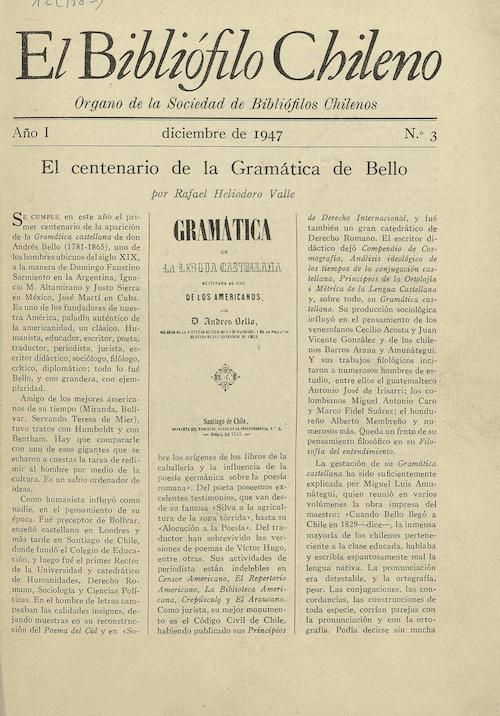 EL BIBLIÓFILO CHILENO N°3 (DICIEMBRE DE 1947)