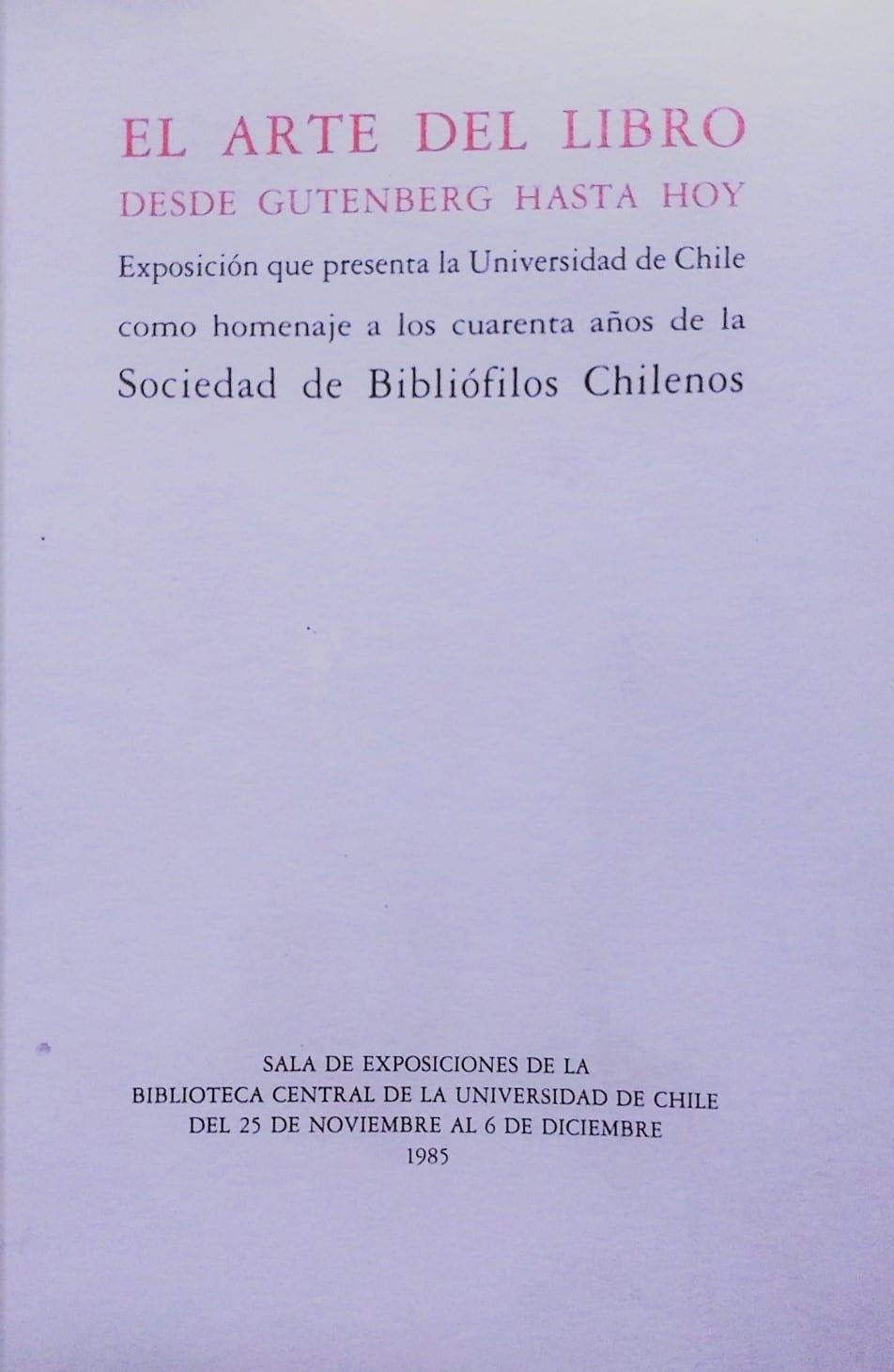 El Arte del Libro, 1985