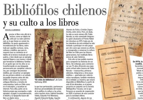 """Bibliófilos Chilenos Y Su Culto A Los Libros. El Mercurio, 24 De Octubre 2020, Sección """"Sociedad"""", Página A-6."""