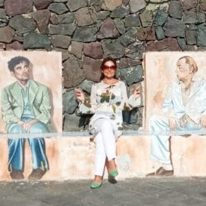Alessandra Basso, in compagnia di Massimo Troisi e Pablo Neruda.