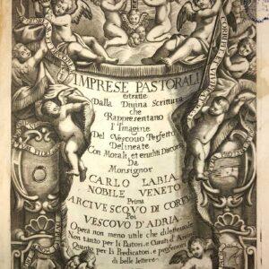 """Un ricco frontespizio inciso da """"Suor Isabella Piccini … monaca in S. Croce di Venezia"""" introduce il testo."""