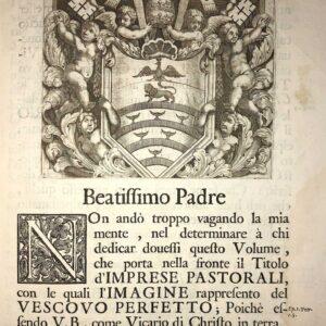 Dedica del testo a Papa Innocenzo XI che guidò la chiesa dal 1676 alla sua morte, nel 1689.